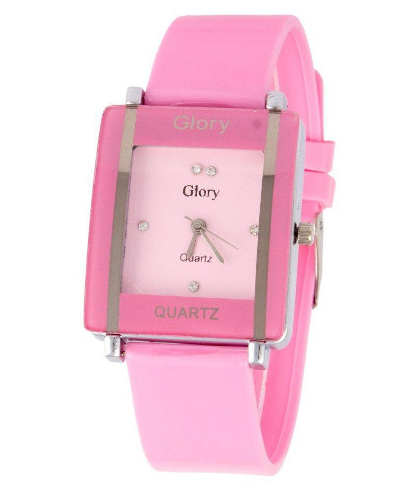 Glory Pink PU Analog Watch for Women