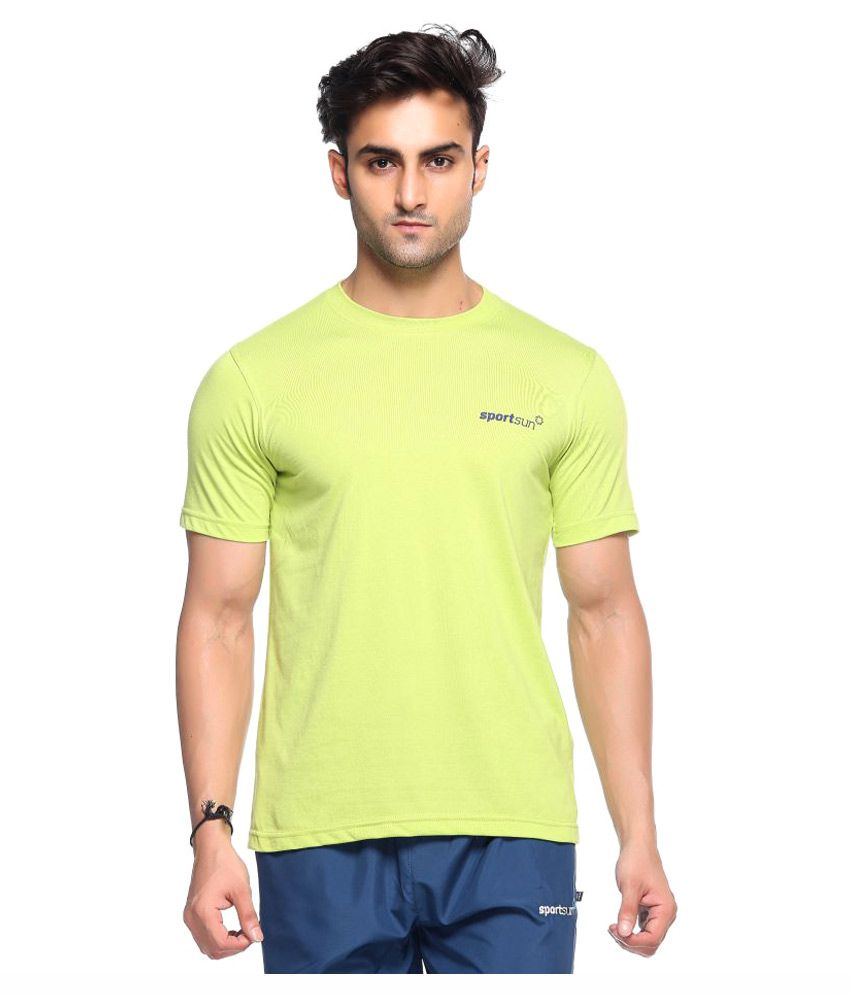 Sport Sun Light Green Polyester T-Shirt Single Pack