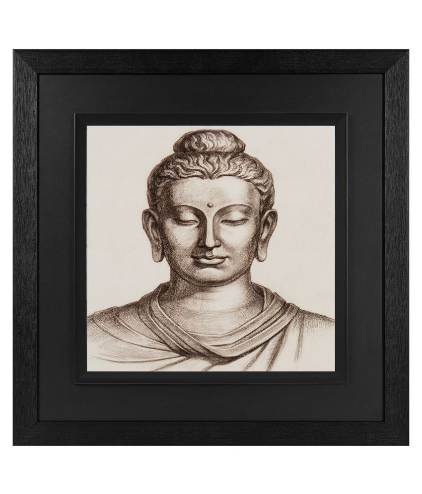 JAF  Religious, Lord Buddha, Black and Double framed painting Wood Art Prints With Frame Single Piece