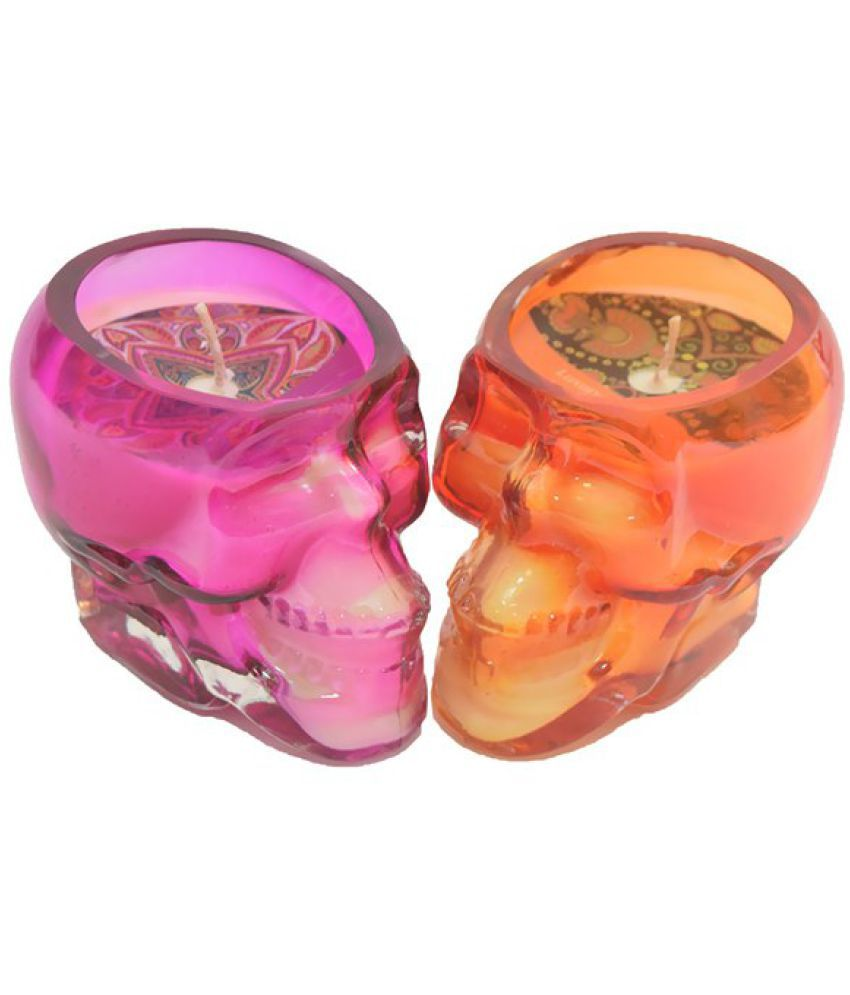 Skycandle Multicolour Skull Candle - Pack of 2