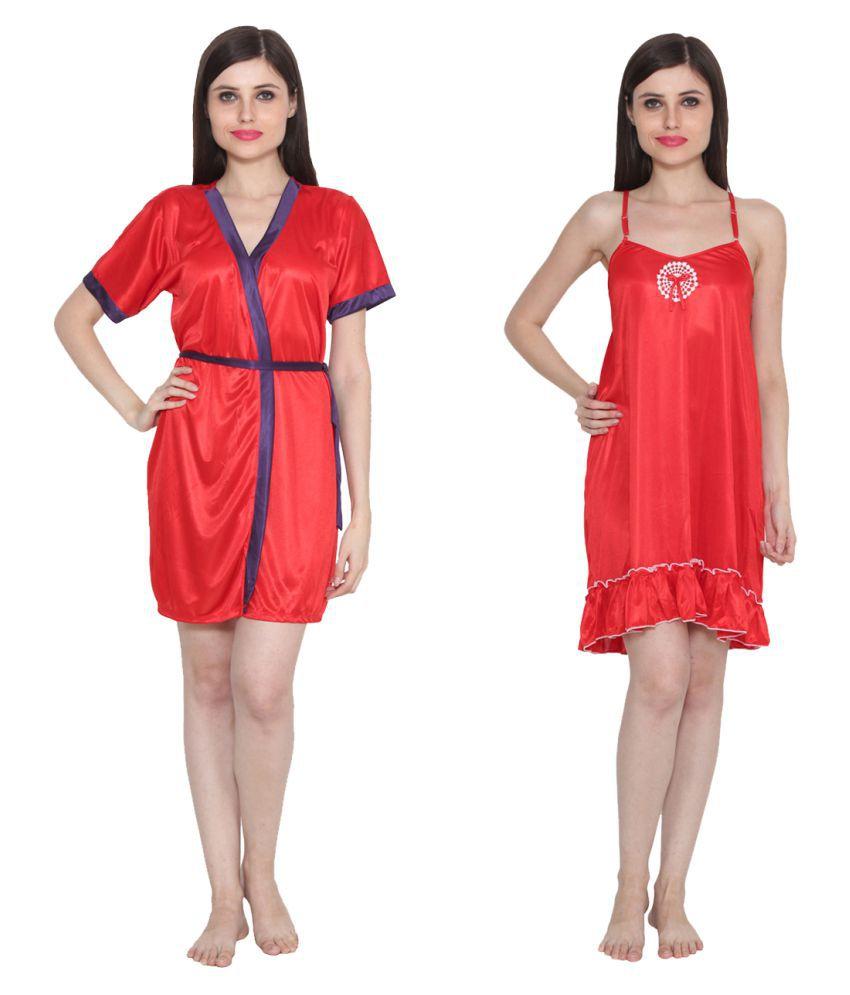 Ansh Fashion Wear Red Poly Satin Nighty & Night Gowns