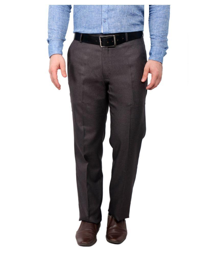 Solemio Coffee Slim Flat Trouser