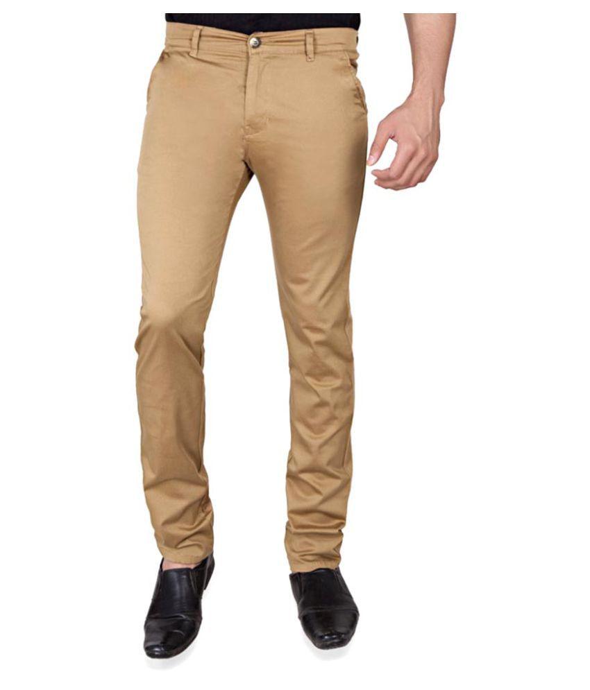 Giftsnfriends Beige Slim Flat Trouser