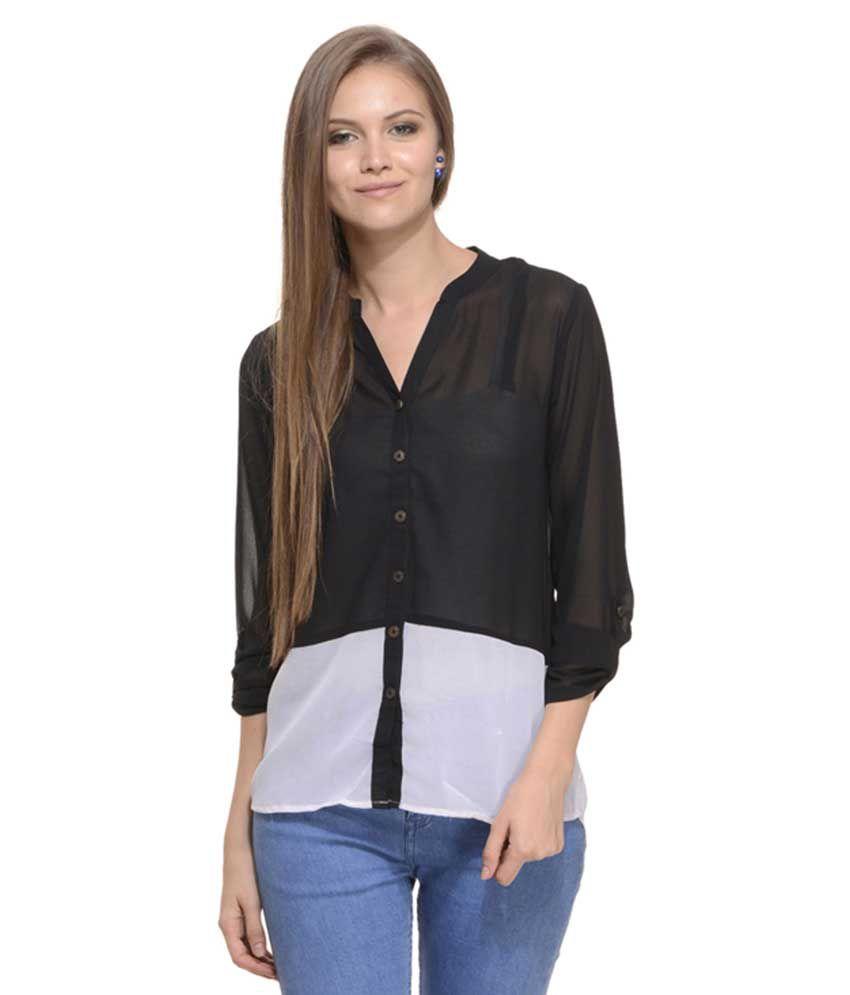 Mystree Black Poly Georgette Shirt