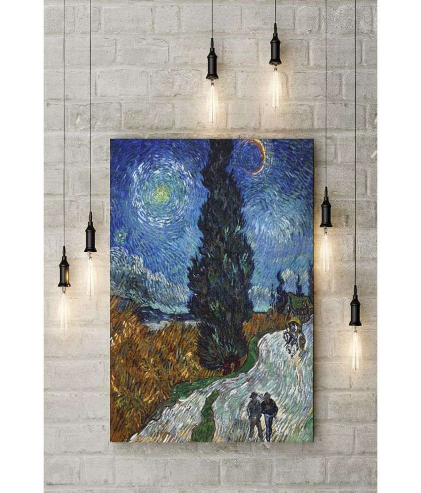 Canvs Road with Cypress and Star, 1890 Wood Art Prints With Frame Single Piece