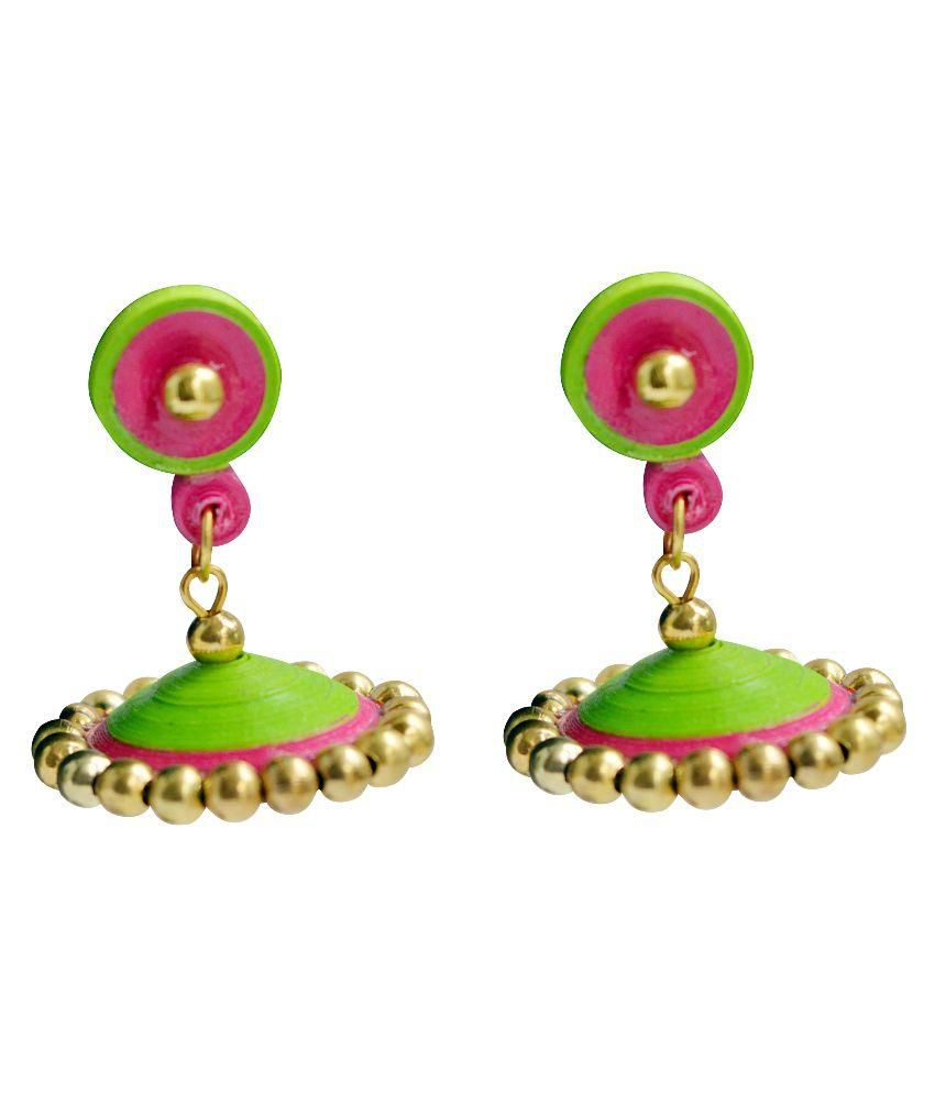 buy quilling paper online india Ninecolours has the best collection of quilled earrings in india ✯ womens fancy  quilled earrings ✯ shop beautiful quilled earrings online ✯ designer quilled  earrings ✯ free  yellow handmade paper quilled earrings earring stud 1416.