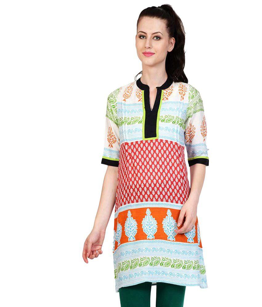 Taaga Multicoloured Cotton Straight Kurti