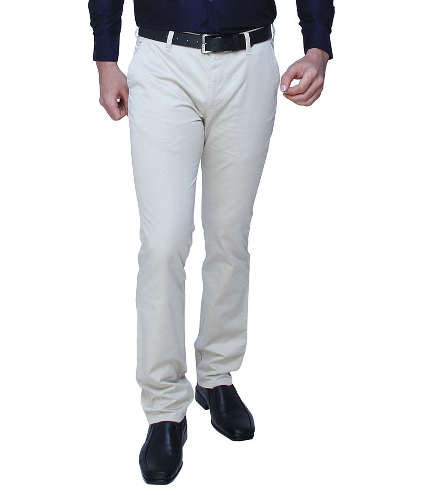 DJ&C By Fbb White Tapered Fit Casual Trousers