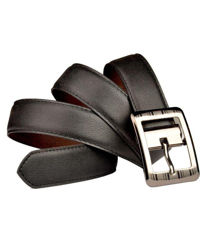 Priya Collection Black Faux Leather Formal Belts