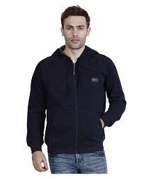 Hiver Men's Woolen Navy Blue Full-Sleeved Sweatshirt with Hood