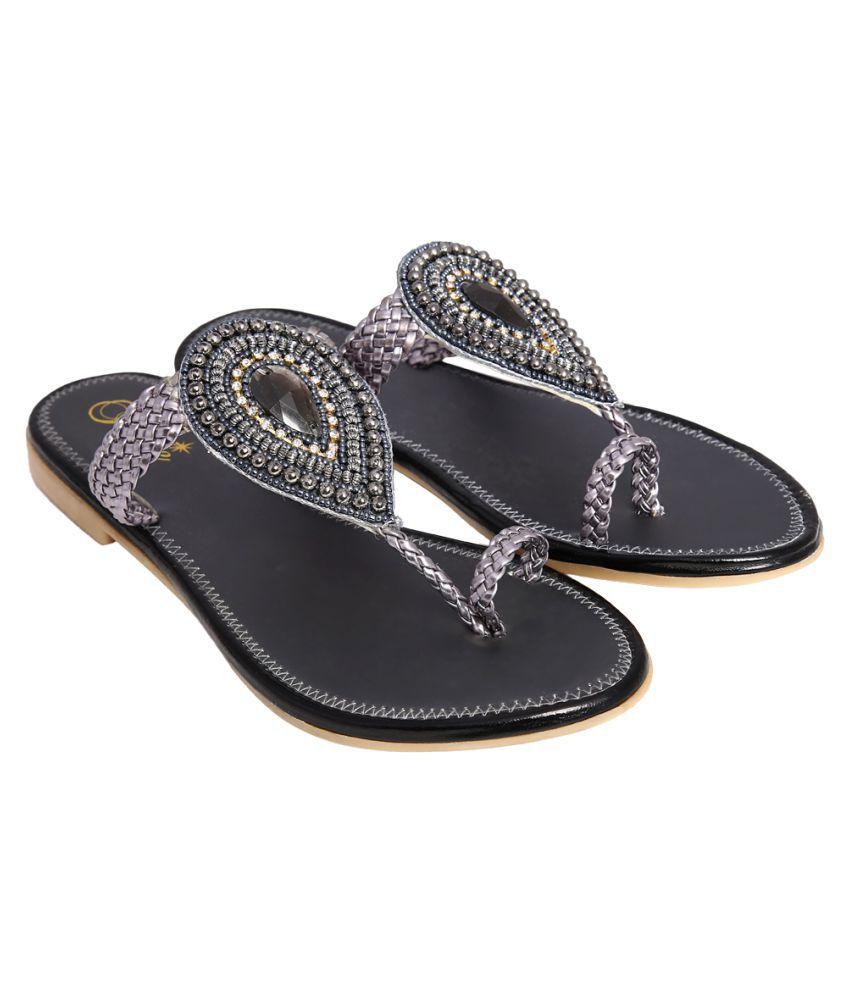Jade Gray Flat Ethnic Footwear
