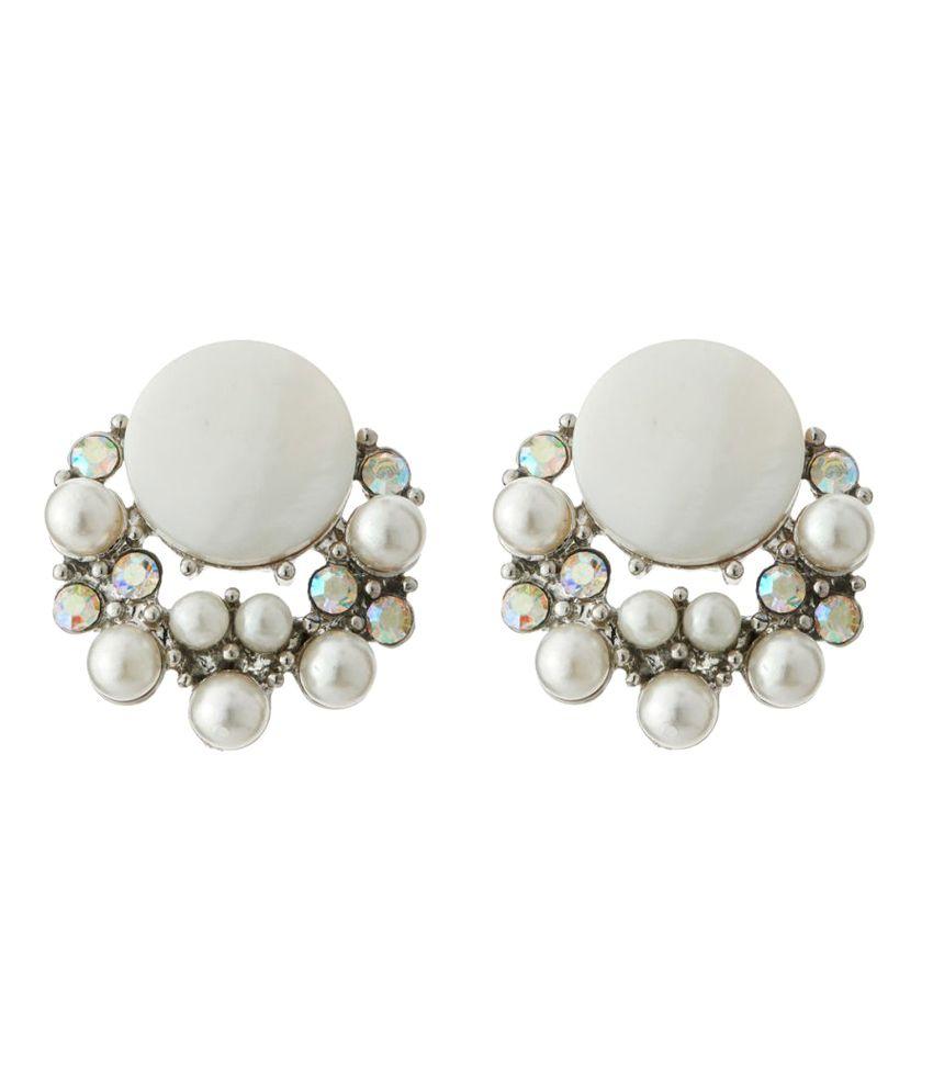 Jazz Jewellery White Earrings