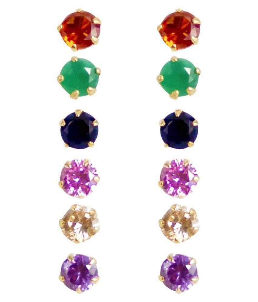 Jewels Gehna Multicolor Earrings - Pack of 6