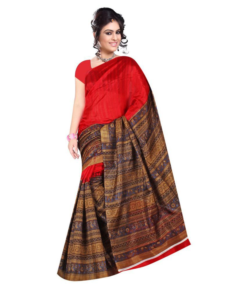 ad6fb8b862b Eon Fabrics Brown and Red Bhagalpuri Silk Saree - Buy Eon Fabrics Brown and  Red Bhagalpuri Silk Saree Online at Low Price - Snapdeal.com