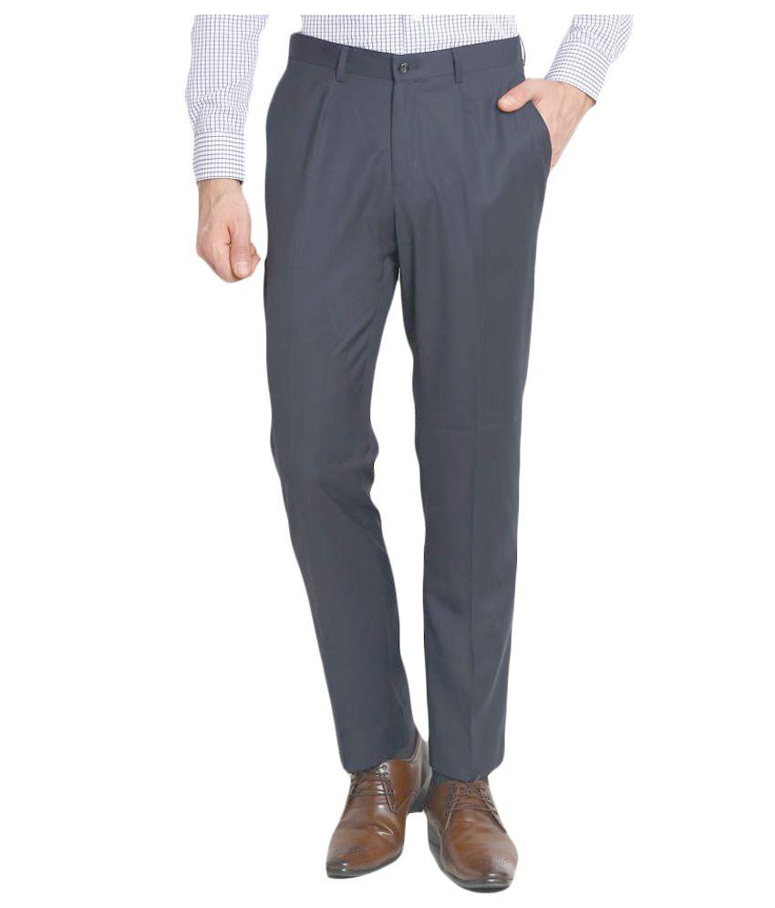 Blackberrys Navy Blue Regular Flat Trouser