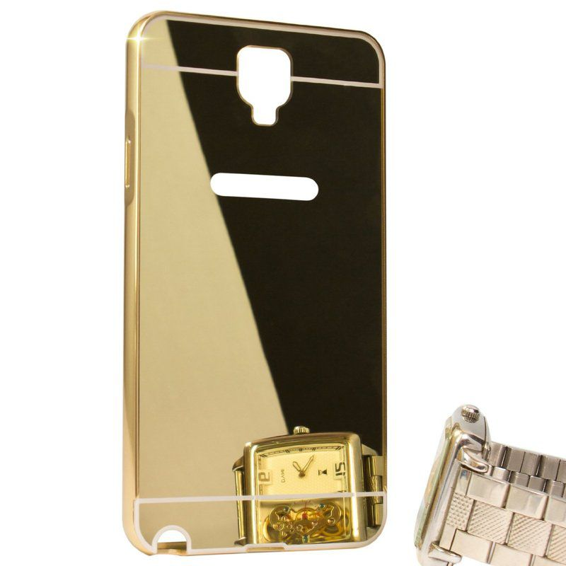 Style Crome Luxury Metal Bumper + Acrylic Mirror Back Cover Case For Samsung Galaxy Note 3 neo + Mini Aux wired Selfie Stick.