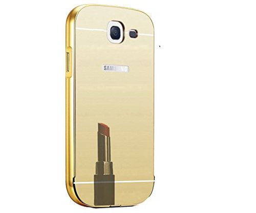 Style Crome Luxury Metal Bumper + Acrylic Mirror Back Cover Case For Samsung Galaxy J5 (2016) + Mini Aux wired Selfie Stick.