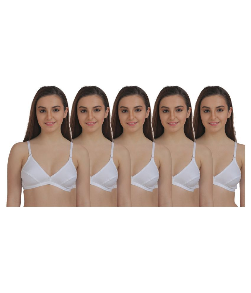 TT White Cotton T-Shirt/ Seamless Bra