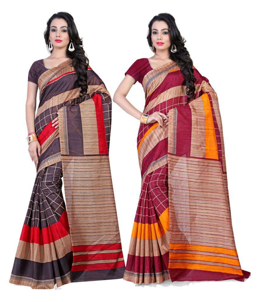 Fabdeal Multicoloured Art Silk Saree Combos