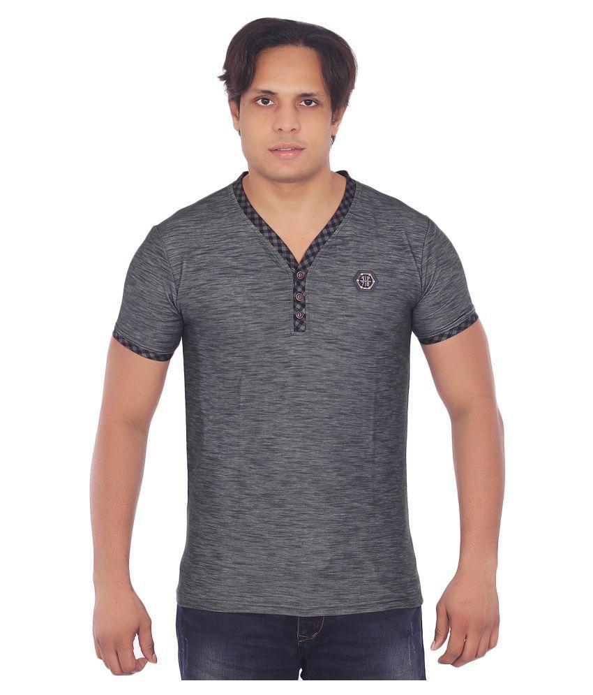 Fashion Monster Grey Henley T-Shirt