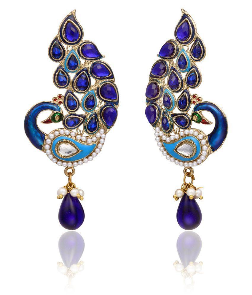 Zaveri Pearls Blue Earrings