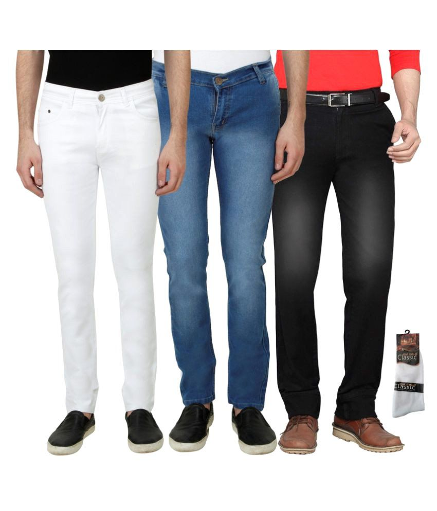 Haltung Multicolour Slim Faded Combo of 3 Jeans With Socks