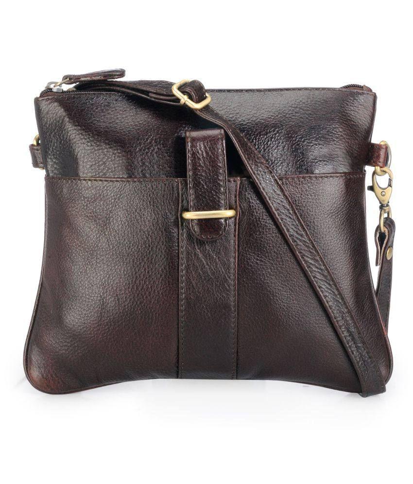 Teakwood Brown Pure Leather Sling Bag