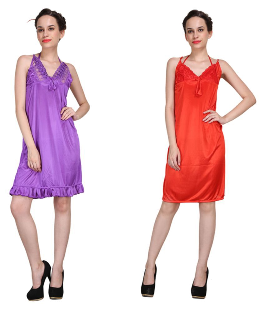 Crazeis Multi Color Satin Nighty & Night Gowns