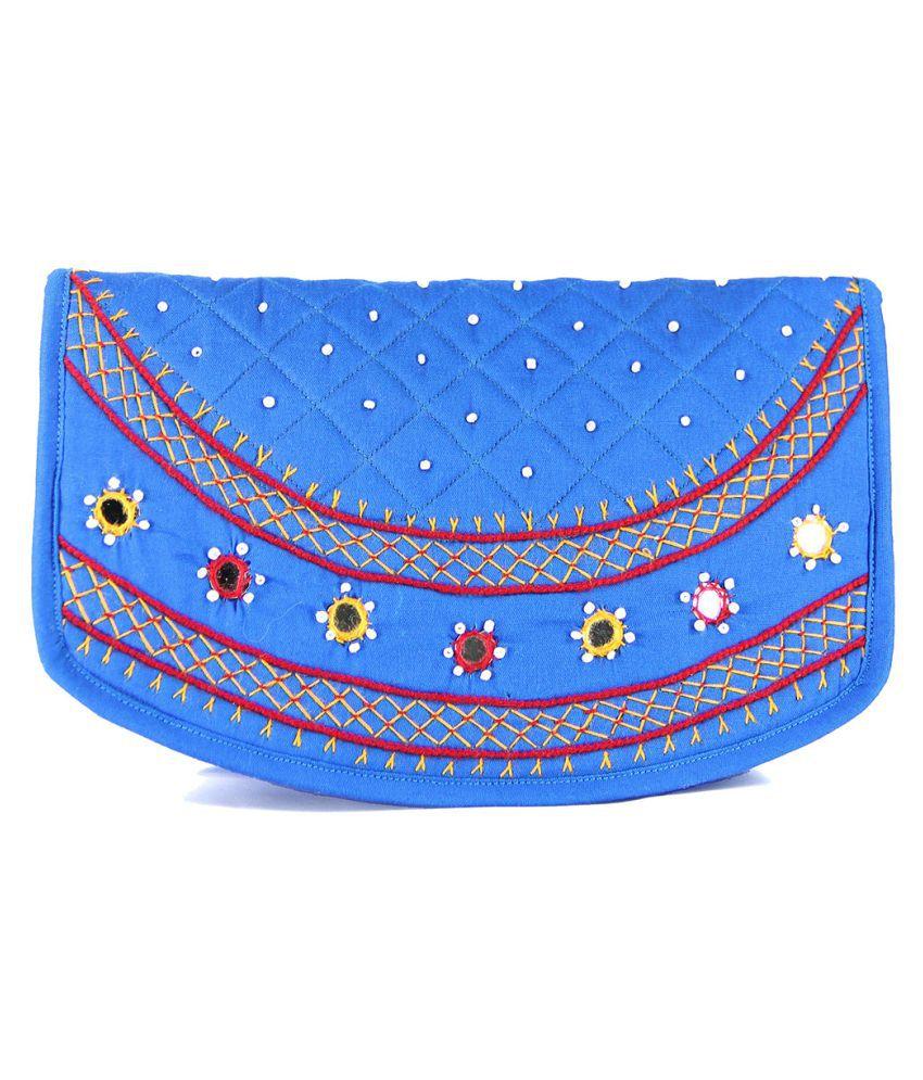 Womens Cottage Blue Fabric Box Clutch