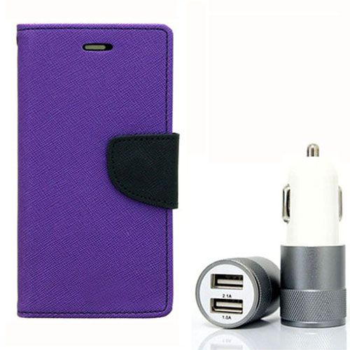 Wallet Flip Case Back Cover For Micromax A104 - (Purple) + Dual ports USB car Charger by Style Crome Store.