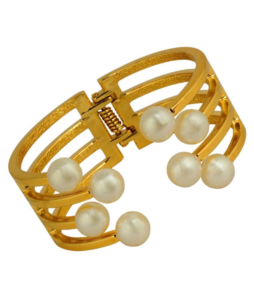 KRS Jewels High Glossed 22k Gold Pearl Bracelet Bangle-Single