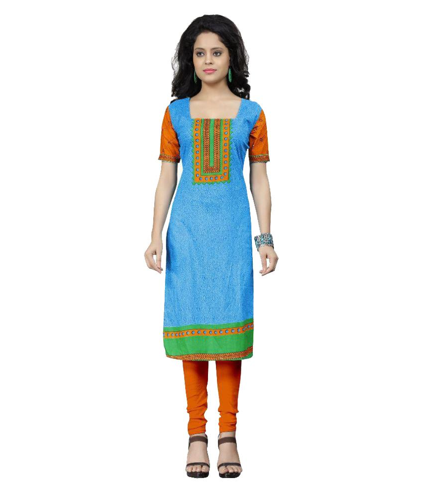Nakoda Creation Green and Blue Cotton Dress Material
