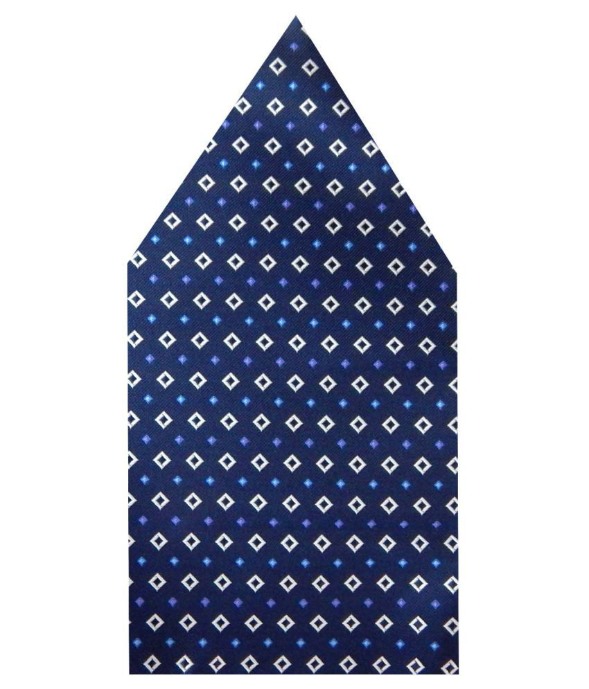 Navaksha Navy Blue Micro Fiber Pocket Square
