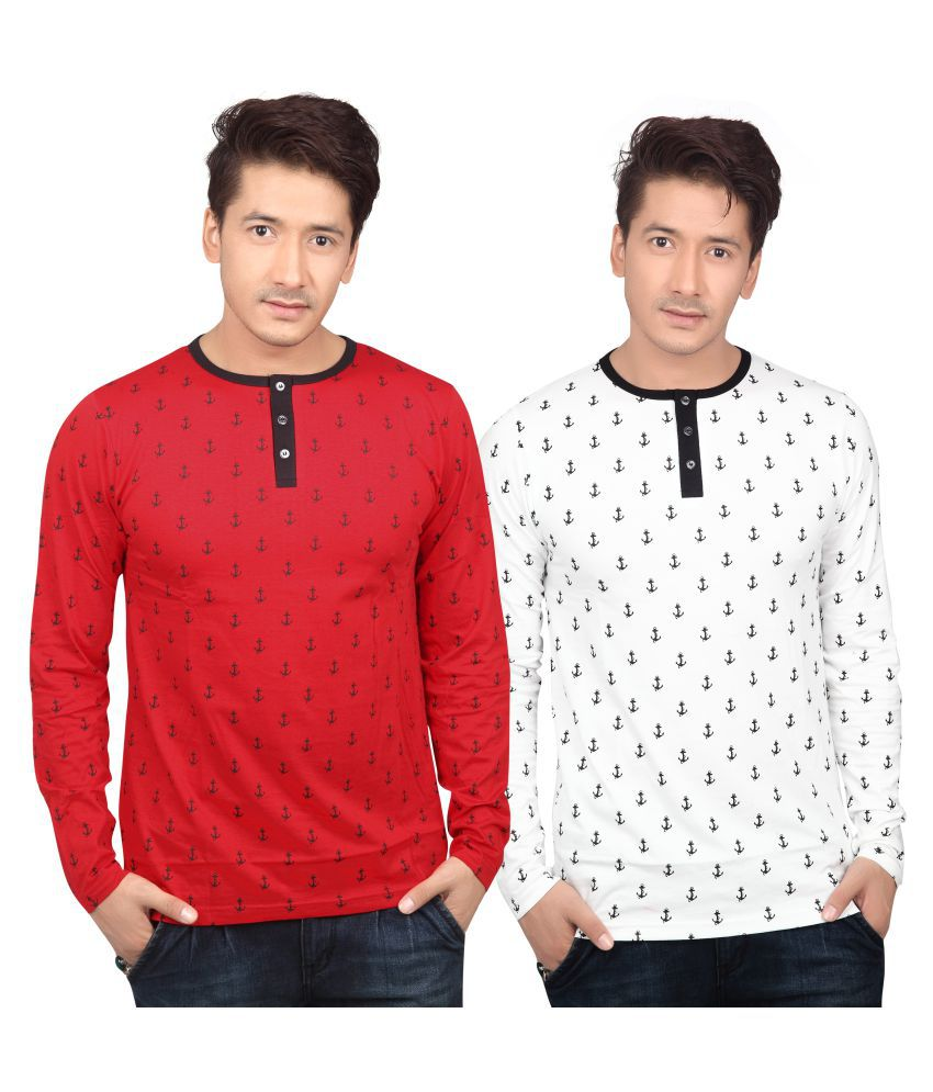 Free Spirit Multi Henley T-Shirt Pack of 2