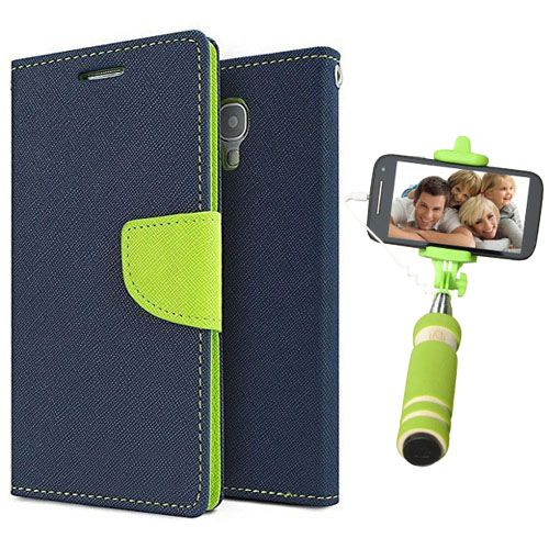 Wallet Flip Case Back Cover For Redmi 2S/Prime-(Blue)+Mini Selfie Stick Compatible for all MobilesBy Style Crome Store