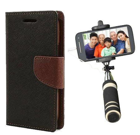 Wallet Flip Case Back Cover For Samsung A8-(Blackbrown)+Mini Selfie Stick Compatible for all MobilesBy Style Crome Store