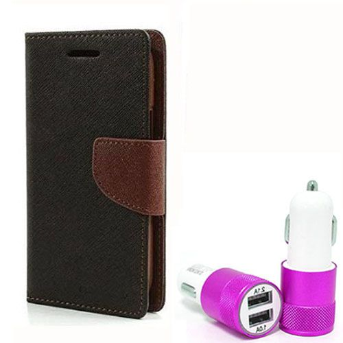 Wallet Flip Case Back Cover For Nexus 4 - (Blackbrown) +Dual ports USB car Charger by Style Crome Store.
