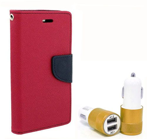 Wallet Flip Case Back Cover For Micromax A110 - (Pink) + Dual ports USB car Charger by Style Crome Store.