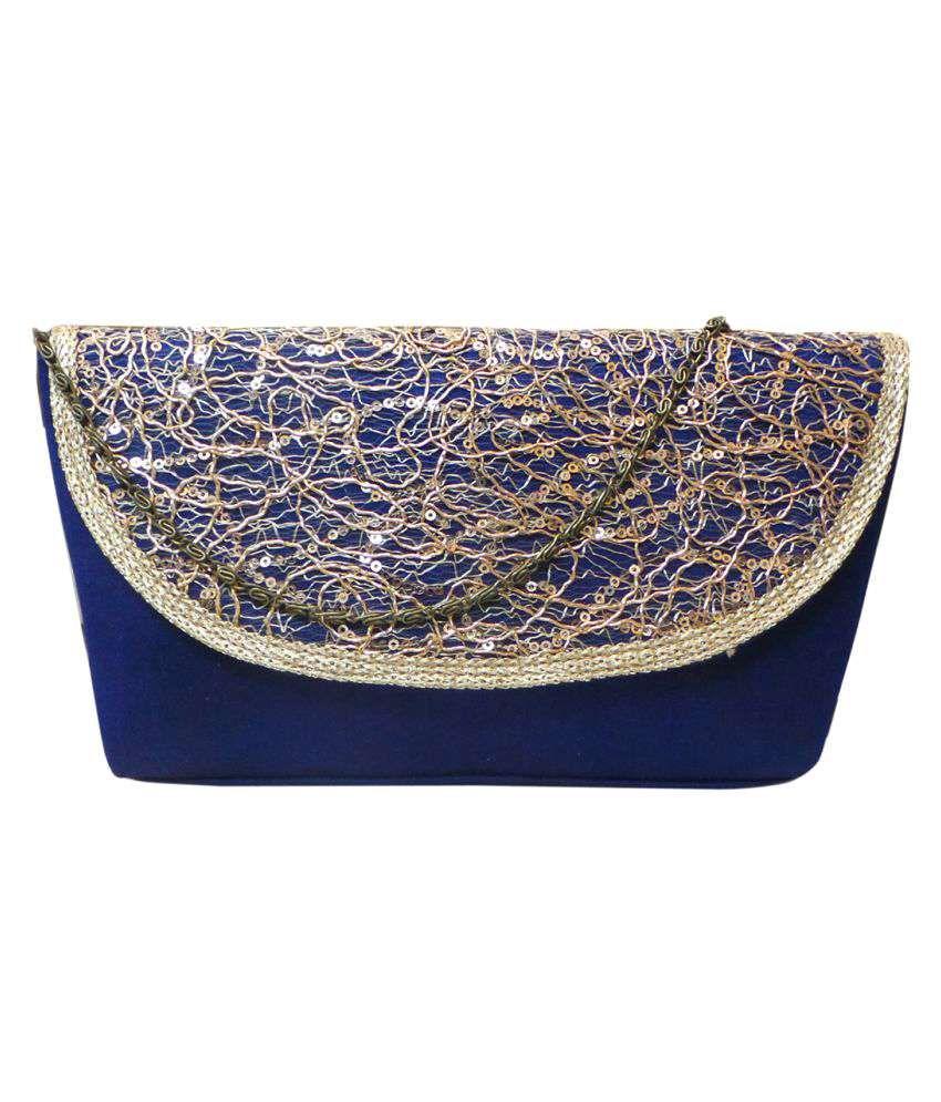 Bhamini Blue Silk Box Clutch