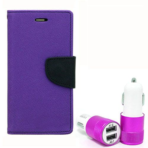 Wallet Flip Case Back Cover For Micromax Q345 - (Purple) + Dual ports USB car Charger by Style Crome Store.