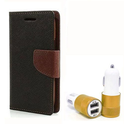 Wallet Flip Case Back Cover For Sony Xpria C5 - (Blackbrown) + Dual ports USB car Charger by Style Crome Store.