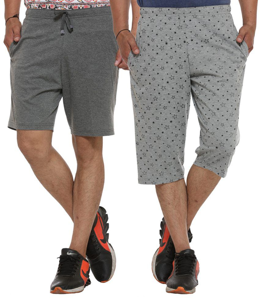 Vimal Jonney Grey Shorts Pack of 2