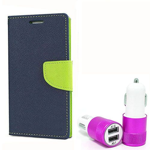 Wallet Flip Case Back Cover For Motorola Moto G2 - (Blue) + Dual ports USB car Charger by Style Crome Store.