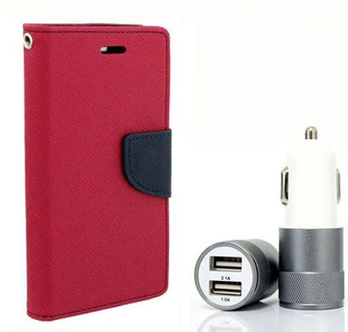 Wallet Flip Case Back Cover For Nokia 640 - (Pink) + Dual ports USB car Charger by Style Crome Store.
