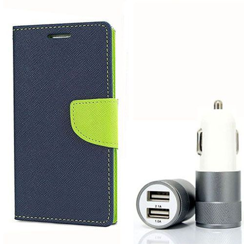 Wallet Flip Case Back Cover For HTC E9Plus - (Blue) + Dual ports USB car Charger by Style Crome Store.
