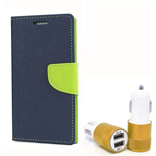 Wallet Flip Case Back Cover For Lenovo A2010 - (Blue) + Dual ports USB car Charger by Style Crome Store.