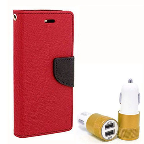 Wallet Flip Case Back Cover For Micromax A104 - (Red) + Dual ports USB car Charger by Style Crome Store.