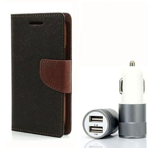 Wallet Flip Case Back Cover For Micromax E313 - (Blackbrown) + Dual ports USB car Charger by Style Crome Store.