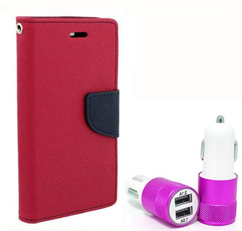 Wallet Flip Case Back Cover For Redmi MI4 - (Pink) + Dual ports USB car Charger by Style Crome Store.