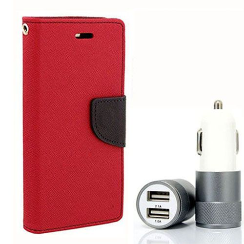 Wallet Flip Case Back Cover For Asus Zenfone 2 - (Red) + Dual ports USB car Charger by Style Crome Store.